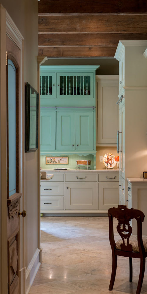 Kitchen with Turquoise Cabinets