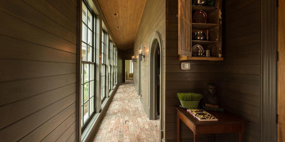 Hallway with Green Siding