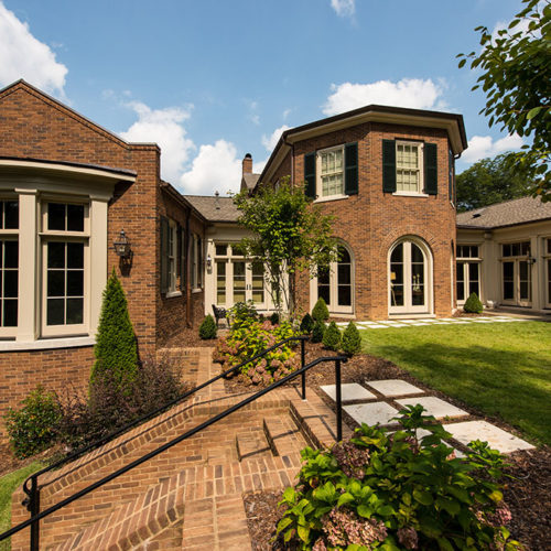 Exterior of Brick Home with Garden
