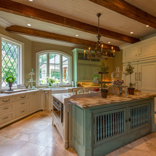 Kitchen with Turquoise Island